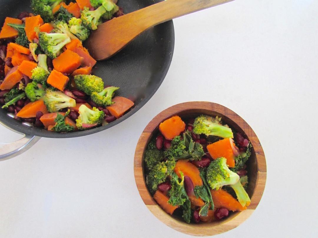 Kale stirfry sweet potato