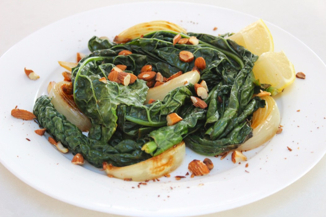 Wilted kale salad with toasted almonds