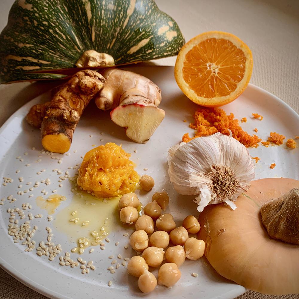 pumpkin, orange & ginger houmous