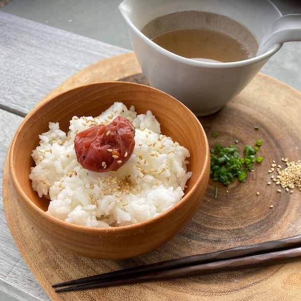 umeboshi plum and broth bowl